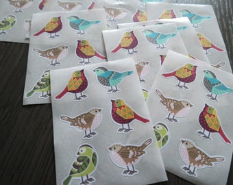 Geometric bird - 6 stickers