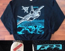 Vintage 90's F-22 Screen Printed JERZEES Sweatshirt -XL -Made in the USA