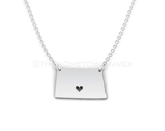 North Dakota Necklace - North Dakota Charm, State of North Dakota Necklace, I Heart North Dakota necklace