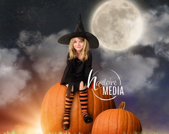 Baby, Toddler, Child, Big Pumpkins Outside Digital Backdrop Prop for Photographers - Moon Star Background - Digital JPG Photography Prop