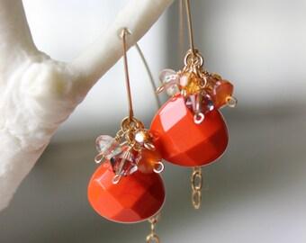 Orange-colored Quartz and Multi-gem Cluster Dangle Earrings - Handmade