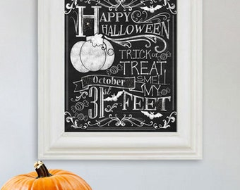 Happy Halloween Decor - Trick ot Treat - Fall Art - Halloween Decoration - Chalkboard Art - 8x10 & 11x14 - Digital Copy