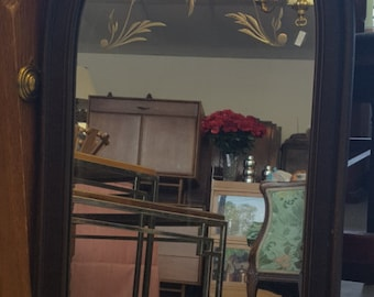 Antique Wood Framed Mirror with delicate etched flowers