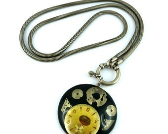 JEAN PAUL GAULTIER * Gorgeous vintage rare steampunk necklace Clock Collection