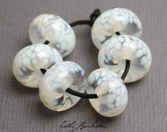White Lampwork Beads, White Glass Beads, White Beads, Large Hole White Beads, Large Hole Beads, Large Hole Glass Beads, Kathy Bankston, Bead