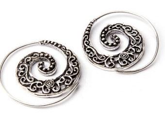 White Brass Small Dark Swirls Etched Spiral Earrings Tribal Earrings Mandala Jewellery Free UK Delivery WB1