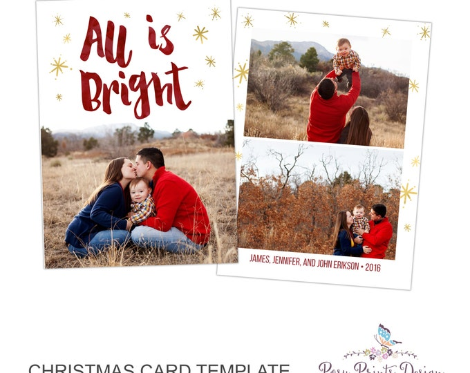 Christmas Card Photoshop Template - All is Bright - 5x7 Photo Card - INSTANT DOWNLOAD or Printable - CC34