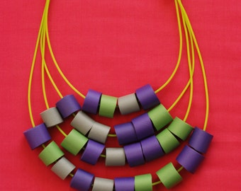 Contemporary green, gray and purple necklace, Hand made necklace, Tubes necklace