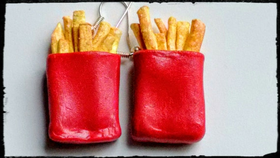 Carton of French Fries Earrings - Miniature Food Jewelry - Inedible Jewelry, Fries Jewelry, Junk Food Jewelry, Kawaii Jewelry, Kid's Jewelry