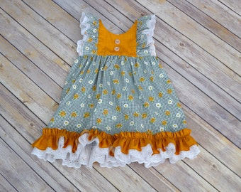 Toddler Dress, Fall Dress, Floral Print Dress, Autunm Dress, Special Occasion Dress, One of a Kind, 2T, Ready to Ship