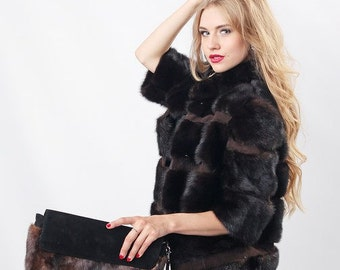 Real mink fur jacket Brown