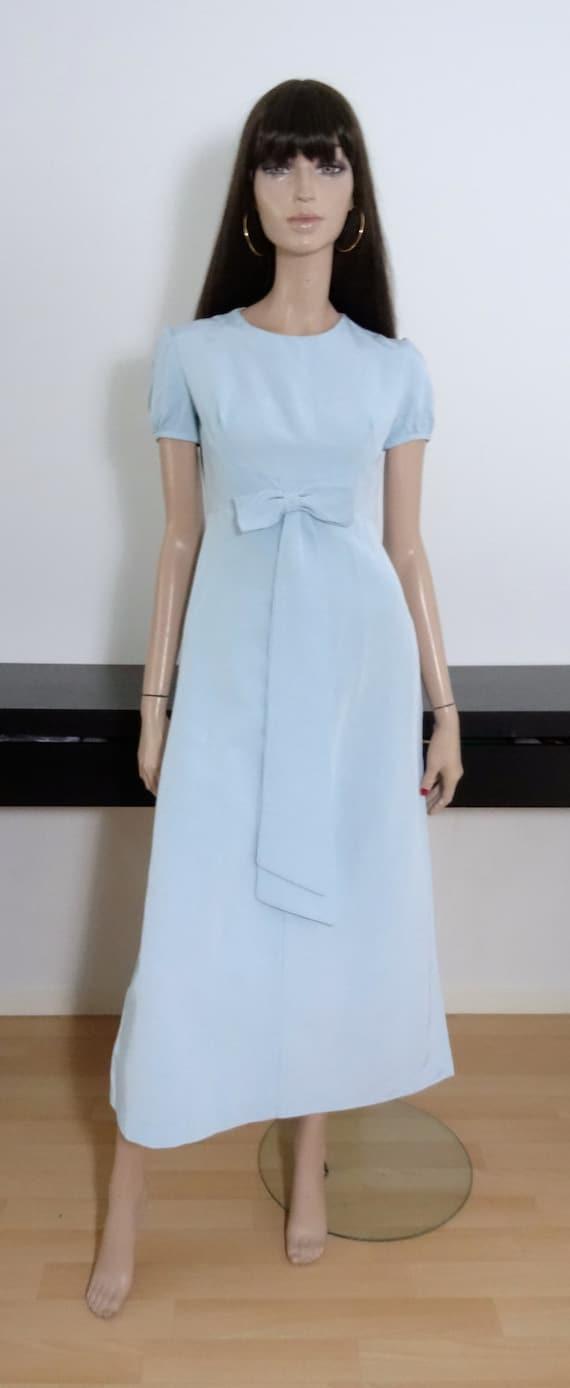 robe vintage empire longue bleue ciel taille 36 size 8. Black Bedroom Furniture Sets. Home Design Ideas