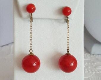 Cherry Red Bakelite Dangle Ball Earrings Clip On Backs Tested Goldtone Chain