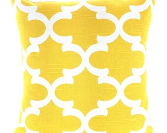 Yellow Decorative Throw Pillow Covers, Cushions, Corn Yellow White Fynn Moroccan Couch Pillows, Euro Sham, Cushions One or More All Sizes