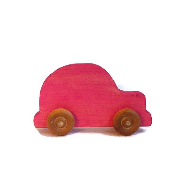 Pink Wooden Toy Push Car // Waldorf & Montessori By