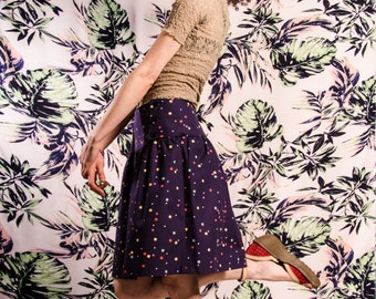 Skirt BIO-Davina: organic cotton, dark blue, dots