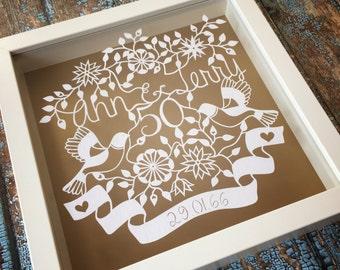 50th Anniversary Framed Papercut.  Handmade - Handcut - Personalised