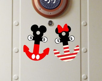 Set of 2 Mickey & Minnie Anchor - Disney Cruise Stateroom Door Magnets