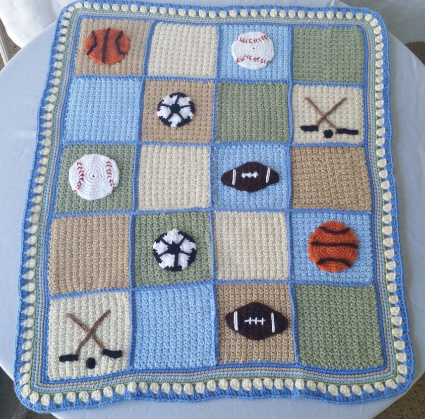 Crochet Pattern For Sports Blanket : sports lapghan crochet baby blanket baseball applique