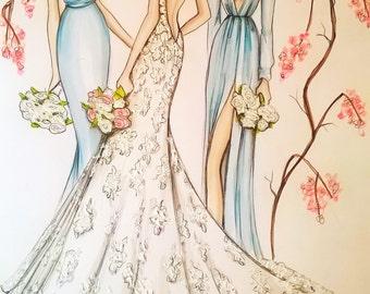 Custom Wedding Portrait Bride Illustration Groom Bridesmaid Wedding Dress Bridal ShowerCustom illustration of 3 persons