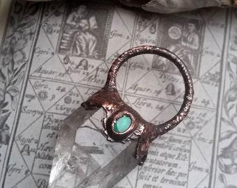 quartz & opal copper amulet
