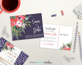 """Elegant Floral Save the Date Postcard // 4.25x5.5"""" // The Jenna Collection // PRINTABLE"""