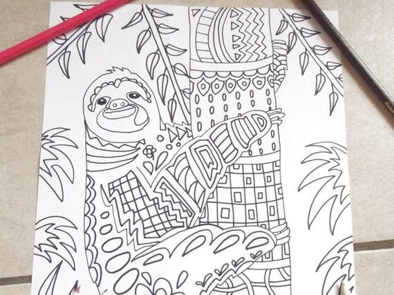 Cute Sloth Coloring Kids Adults Kawaii Diy Zen Doodle Animals