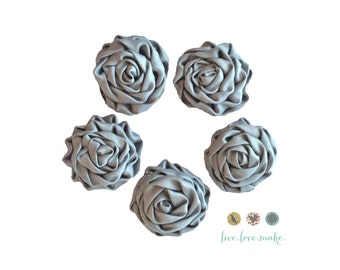 Set of (3)-MINI Silver-Gray-Grey-Satin Ruffled Rosettes- Rolled Rosettes- Rosettes-Flower- Supply DIY-Fabric Flower-Rolled-small-petite-mini