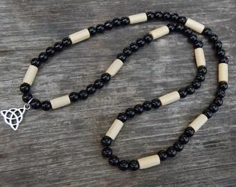 Trinity Necklace,Silver Charm,Wood Beads,Spirituality,Prayer,18 inches,Choker,Prayer Beads,Protection,Yoga,Man,Woman,Surfer