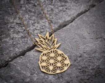 Fruit necklace, unique necklace, geometric necklace, pineapple necklace, long necklace, gold necklace, gift under 50, goldfilled necklace.