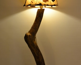 wooden floor lamp with abajour
