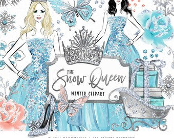 Snow Queen Clip Art | Fashion Illustration Winter Holiday Silver Snowflakes Graphics | Planner Stickers, Planner Girl Digital Cliparts