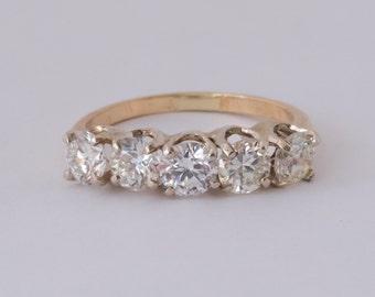 Circa 1940s Retro-Vintage 5-Stone Old Euro Diamonds Engagement Ring, 1.55cttw ATL #357B