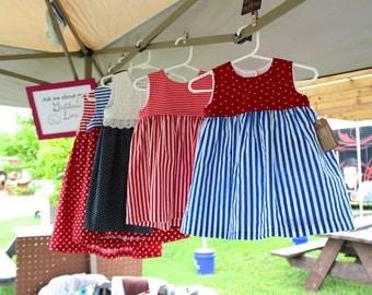 Red, White, Blue Custom Baby & Toddler Dress or Romper