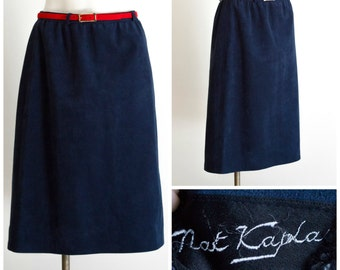 Dark blue suede a line skirt from Nat Kaplan Couture