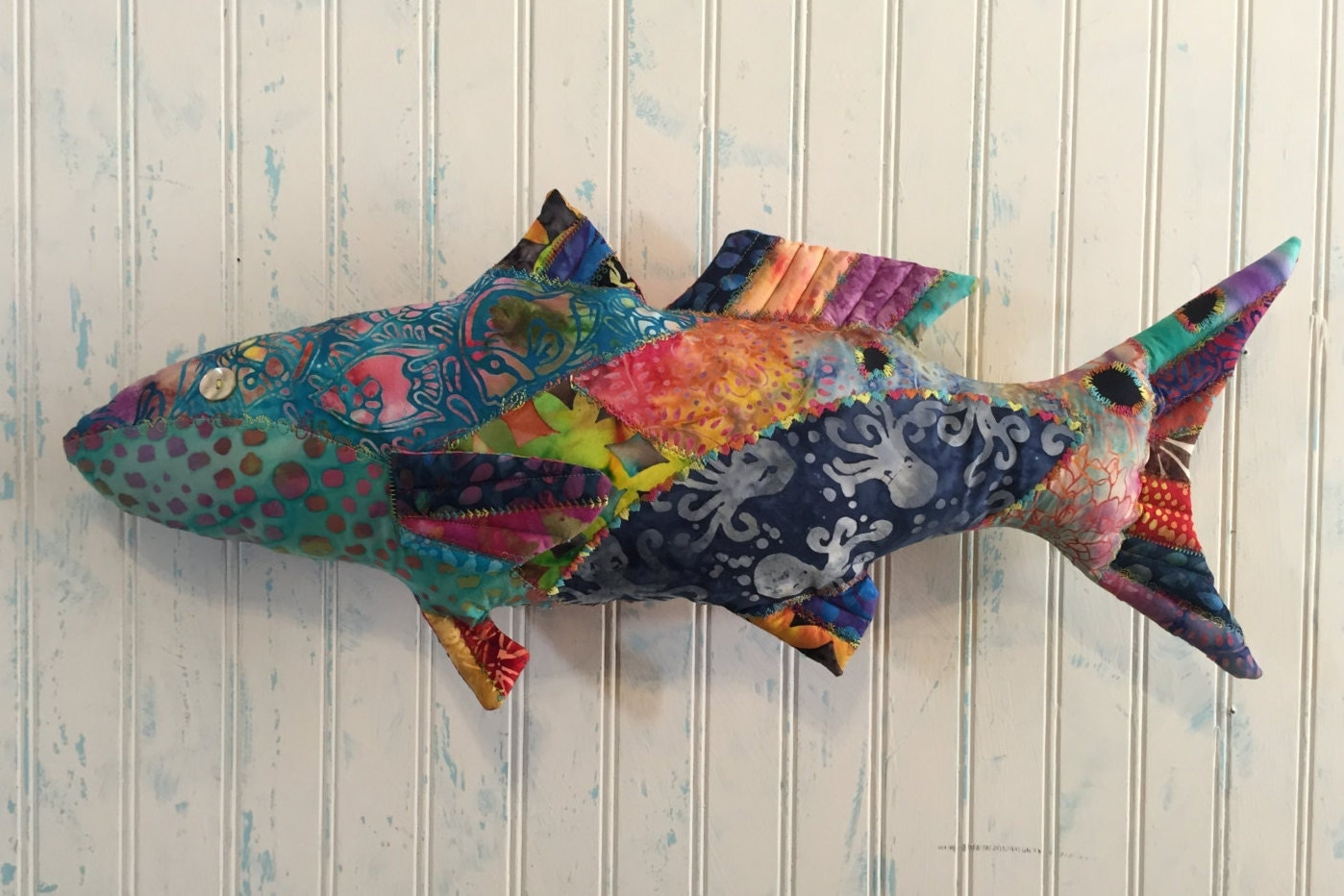 Batik pillow redfish rf012 is a large 25x11 fish by for Fish shaped pillow