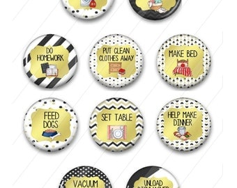 """Custom Chore Magnets for Children's Chore Charts - Black and Gold Design 1.5"""""""