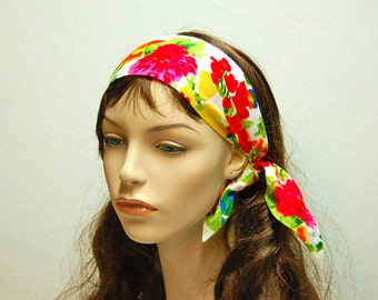 Retro Headband Boho Hippie Wide Hairband Head Scarf Wrap Large Floral Hot Pink Red Blue White Lime Green Vintage Floral Fabric