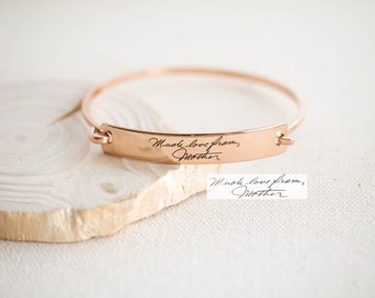 Custom Actual Handwriting Jewelry • Handwriting Bangle • Engraved Signature Bracelet • Keepsake Jewelry • Sentimental Mother Gift • BM25
