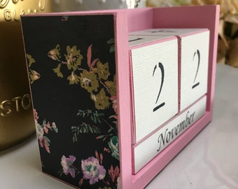 decorative office supplies. perpetual calendar floral navy pink office supply decor gift for decorative supplies
