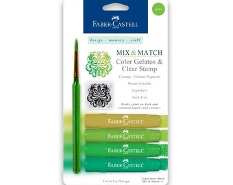 Faber Castell Green Gelatos and clear stamp