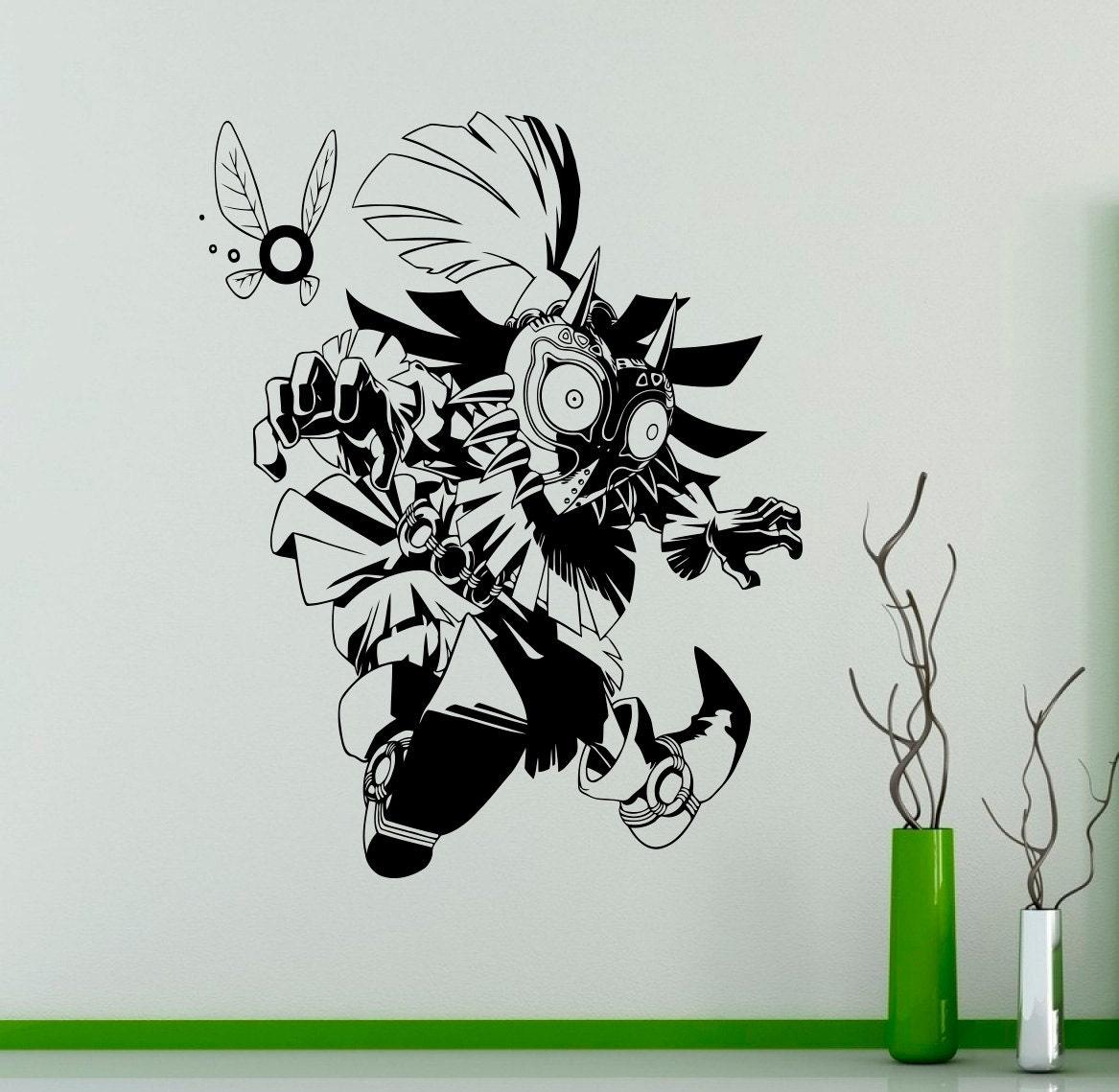 Legend of zelda wall vinyl decal majora 39 s mask wall for Decoration chambre zelda