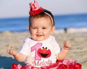 elmo birthday crown headband, hot pink and red elmo birthday crown