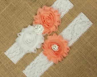 Peach Wedding Garter, Wedding Garter, Bridal Garter, Toss Garter, Wedding Garter Set, Bridal Garter Set, Peach Garter Wedding Set,  SCW1-R01