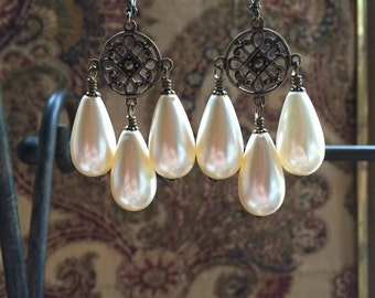 Off-White Faux Pearl Teardrop Antiqued Brass Chandelier Earrings Baroque Rococo