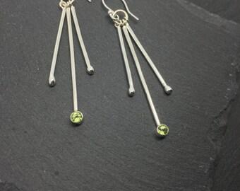 Peridot Silver Earrings, Peridot Drop Earrings, Long Silver Stick Earrings, Three Stick Earrings, August Birthstone Earrings