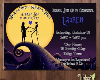 Nightmare Before Christmas Baby Shower Party Invitation - Digital File Printable- Sally - Jack Skellington - Baby Shower Invite It is a Boy