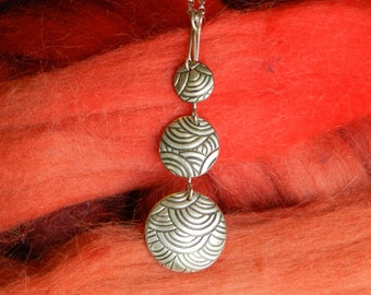 Necklace Fine Silver Precious Metal Clay with Triple Pendants