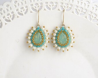 Gold turquoise earrings, mom gifts, Turquoise gold earring, Gold teardrop earrings, Turquoise earrings dangle, Turquoise bridal jewelry