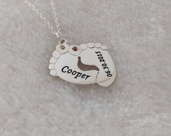 Engraved Baby Footprint Necklace,Baby Feet Necklace with Birthstone,Baby Name Birthday Necklace,Personalized Silver Baby Necklace For Mom